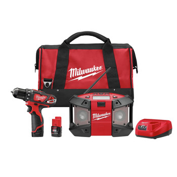Milwaukee 2492-22 M12 12V Cordless Lithium-Ion 3\/8 in. Drill Driver & Portable Radio Kit