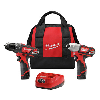 Milwaukee 2497-22 M12 12V Cordless Lithium-Ion 3\/8 in. Hammer Drill and Impact Driver Combo Kit