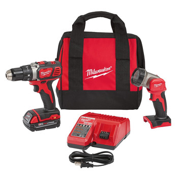 Milwaukee 2606-21L M18 18V Cordless Lithium-Ion Compact 1\/2 in. Drill Driver Kit with Free LED Work Light