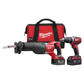Milwaukee 2694-22 M18 18V Cordless Lithium-Ion 1\/2 in. Hammer Drill and Sawzall Recip Saw Combo Kit