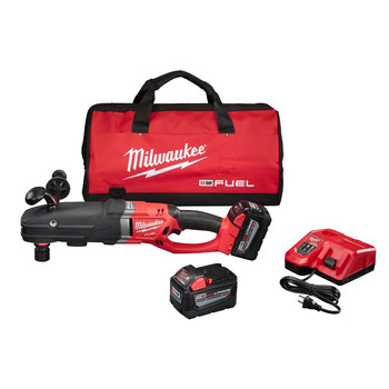 Milwaukee 2711-22HD M18 FUEL 18V 9.0 Ah Cordless Lithium-Ion Quik-Lok Super Hawg Right Angle Drill Kit