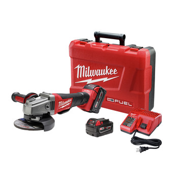 Milwaukee 2780-22 M18 FUEL 18V Cordless 4-1\/2 in. - 5 in. Paddle Switch Grinder with 2 REDLITHIUM Batteries