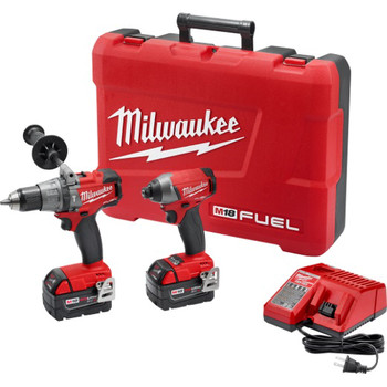 Milwaukee 2897-22 M18 FUEL 18V Cordless Lithium-Ion 1\/2 in. Hammer Drill and 1\/4 in. Hex Impact Driver Kit