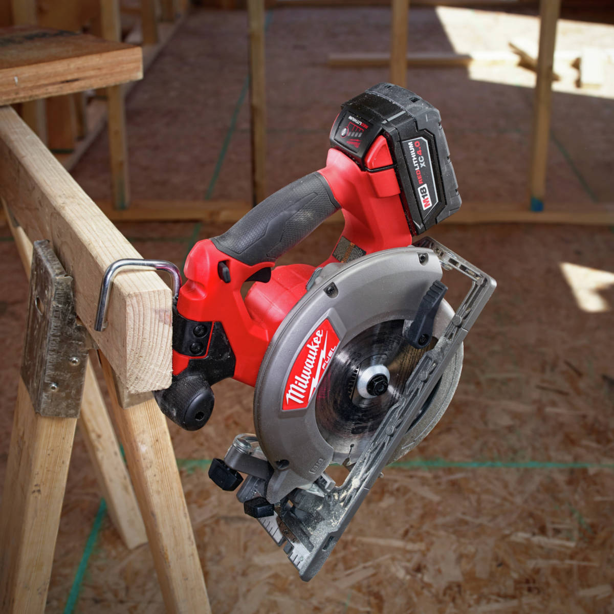 M18 FUEL 6-1/2 in. Circular Saw Rafter hook provides convenient storage on the job