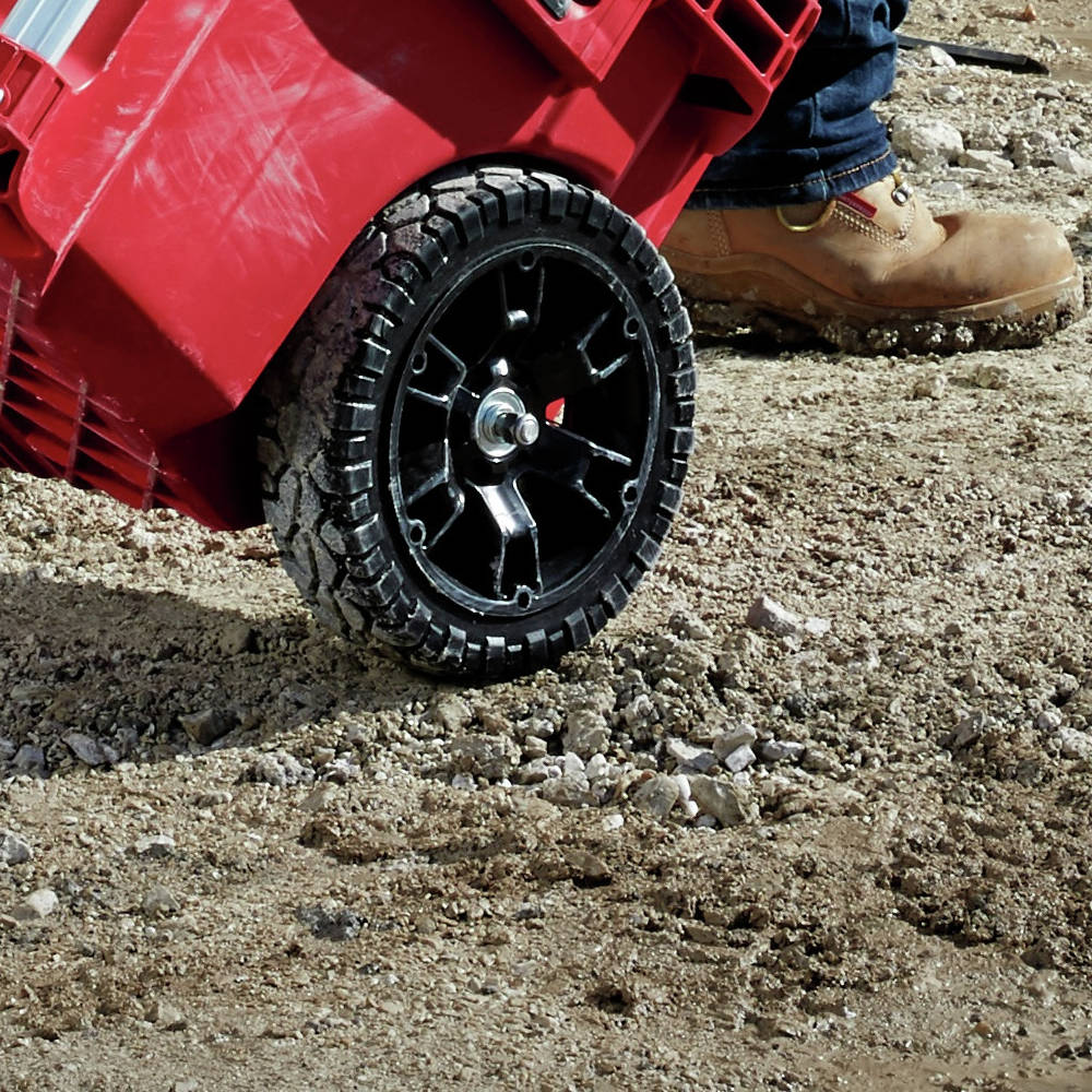 Milwaukee PACKOUT Rolling Tool Box 9 in. All-Terrain wheels go anywhere