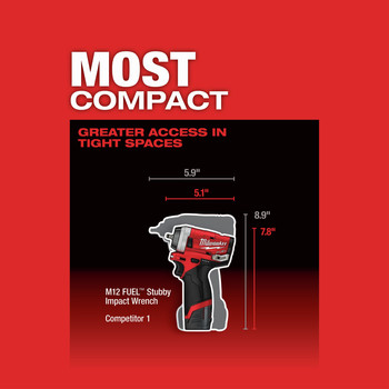 Milwaukee 2552-22 M12 FUEL Stubby 1/4 in. Impact Wrench Kit image number 9