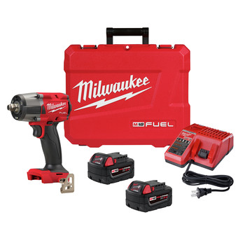 Milwaukee 2962-22 M18 FUEL Lithium-Ion Brushless Mid-Torque 1/2 in. Cordless Impact Wrench Kit with Friction Ring (5 Ah)