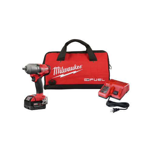 Milwaukee 2860-21 M18 FUEL Mid-Torque Impact Wrench 1/2 in. Pin Detent with 5.0 Starter Kit