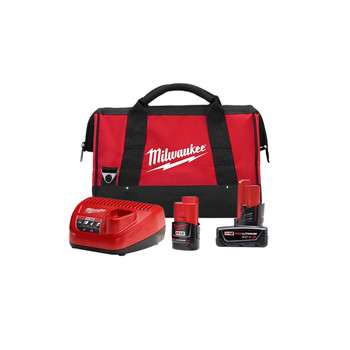 Milwaukee 48-59-2424P M12 REDLITHIUM CP 2 Ah and XC 4 Ah Lithium-Ion Battery , Charger, and Bag Kit