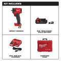 Milwaukee 2854-22CT M18 FUEL Lithium-Ion Brushless Compact 3/8 in. Cordless Impact Wrench Kit with Friction Ring (2 Ah) image number 1