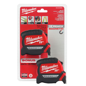 Milwaukee 48-22-0325G 2-Piece Compact Wide Blade 25 ft. Magnetic Tape Measure