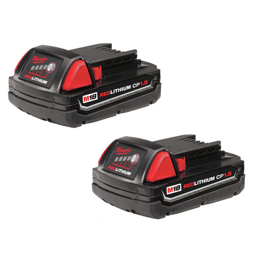Milwaukee 48-11-1811 M18 18V 1.5 Ah Compact REDLITHIUM Lithium-Ion Battery (2-Pack)