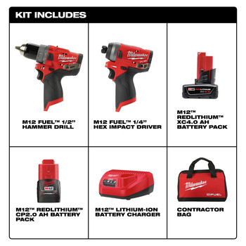 Milwaukee 2598-22 M12 FUEL 2-Tool Combo Kit: 1/2 in. Hammer Drill and 1/4 in. Hex Impact Driver image number 8