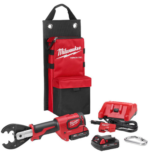 Milwaukee 2678-22O M18 Force Logic 18V 2.0 Ah Cordless Lithium-Ion 6T Utility Crimper Kit with D3 Groves and Fixed O Die image number 0