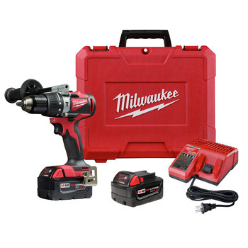 Milwaukee 2902-22 M18 Lithium-Ion Brushless 1/2 in. Cordless Hammer Drill Kit (4 Ah)