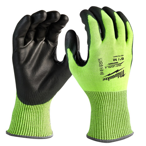 Milwaukee 48-73-8941B 12-Piece Cut Level 4 High Visibility Polyurethane Dipped Gloves - Medium image number 0