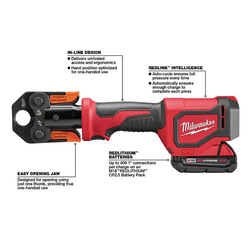 Milwaukee 2674-22P M18 18V 2.0 Ah Short Throw Press Tool Kit with Viega PureFlow Jaws image number 2