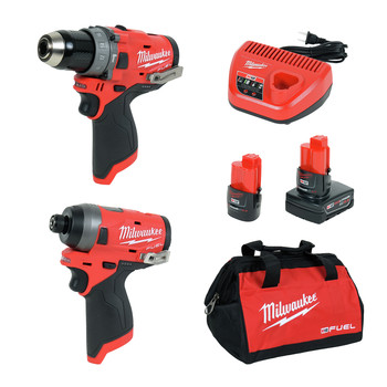Milwaukee 2598-22 M12 FUEL Brushless Lithium-Ion 1/2 in. Cordless Hammer Drill/ 1/4 in. Impact Driver Combo Kit (2 Ah)