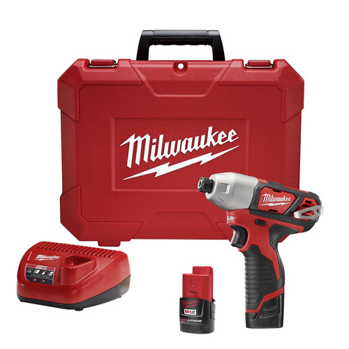 Factory Reconditioned Milwaukee 2462-82 M12 Lithium-Ion 1/4 in. Hex Impact Driver Kit