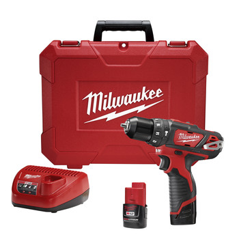 Milwaukee 2408-21 M12 Lithium-Ion 3/8 in. Cordless Hammer Drill Driver Kit (2 Ah)