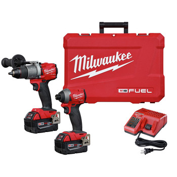 Milwaukee 2997-22 M18 FUEL Brushless Lithium-Ion 1/2 in. Cordless Hammer Drill Driver/ 1/4 in. Impact Driver Combo Kit (5 Ah)