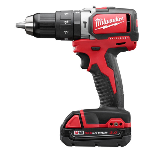 Factory Reconditioned Milwaukee 2702-82CT M18 Lithium-Ion Brushless Compact 1/2 in. Cordless Hammer Drill Driver Kit (2 Ah) image number 0