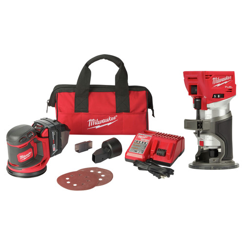 Milwaukee 2648-2723-BNDL M18 Random Orbit Sander Kit and M18 FUEL Cordless Lithium-Ion Compact Router image number 0