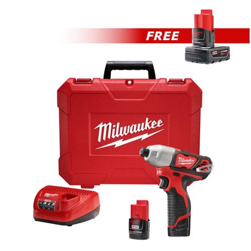 Milwaukee 2462-2440-BNDL M12 12V Lithium-Ion 1/4 in. Hex Impact Driver Kit with FREE M12 REDLITHIUM XC 4.0 Ah Extended Capacity Battery Pack