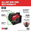 Milwaukee 3622-20 M12 Green Cross Line and Plumb Points Cordless Laser (Tool Only) image number 1