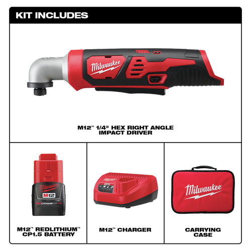 Milwaukee 2467-21 M12 Lithium-Ion 1/4 in. Right Angle Impact Driver Kit image number 5