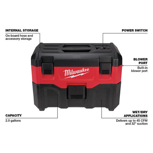 Milwaukee 0880-20 M18 18V Lithium-Ion 2 Gallon Wet/Dry Vacuum (Tool Only) image number 2