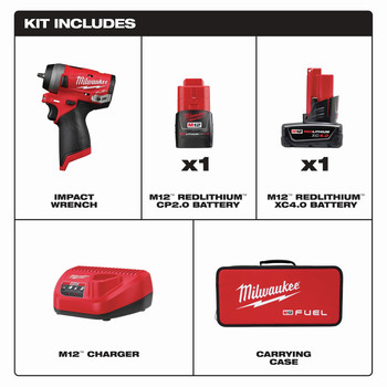 Milwaukee 2552-22 M12 FUEL Stubby 1/4 in. Impact Wrench Kit image number 6