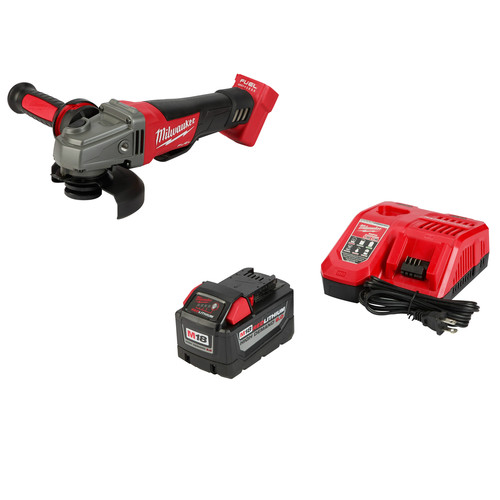 Milwaukee 48-59-1890PG M18 FUEL 18-Volt Lithium-Ion Cordless 4-1/2 in./5 in. Grinder Paddle Switch No-Lock W/ M18 9.0Ah Starter Kit