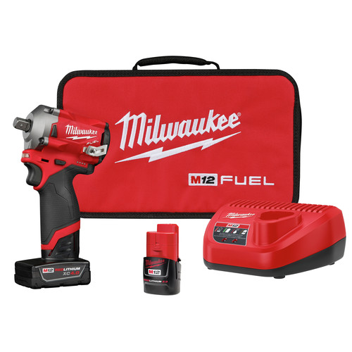 Milwaukee 2555P-22 M12 FUEL Stubby 1/2 in. Impact Wrench  Kit with Pin Detent image number 0