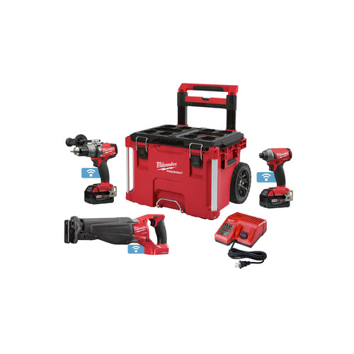 Milwaukee 2796-22PO M18 FUEL with ONEKEY 2 Pc Combo Kit with FREE M18 FUEL Sawzall and PACKOUT Rolling Case