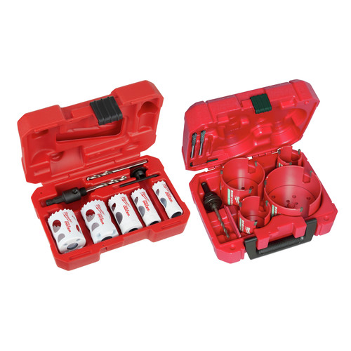 Milwaukee 9285-4138-BNDL 8 Pc BIG HAWG with Carbide Teeth Kit and 8-Pc. Plumber's Hole Dozer Hole Saw Kit image number 0
