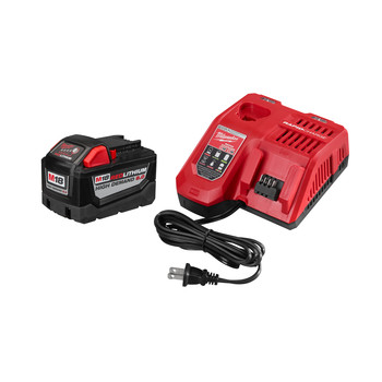 Milwaukee 48-59-1890 M18 REDLITHIUM HIGH DEMAND HD 9 Ah Lithium-Ion Battery and M18/M12 Charger Kit
