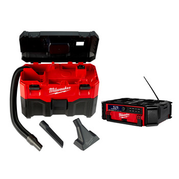 Milwaukee 2950-0880-CPO M18 PACKOUT Radio and Charger plus M18 18V Lithium-Ion 2 Gallon Wet/Dry Vacuum (Tool Only)
