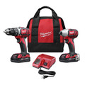 Milwaukee 2691-22 M18 18V Cordless Lithium-Ion 1/2 in. Drill Driver and 1/4 in. Impact Driver High Performance Combo Kit