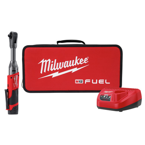 Milwaukee 2560-21 M12 FUEL Cordless Lithium-Ion 3/8 in. 2.0 Ah Extended Reach Ratchet Kit image number 0