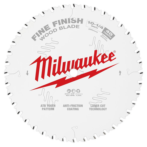 Milwaukee 48-40-1040 10-1/4 in. 40T Fine Finish Circular Saw Blade image number 0
