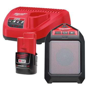 Milwaukee 2592-21 M12 12V Wireless Jobsite Speaker Kit with Battery and Charger