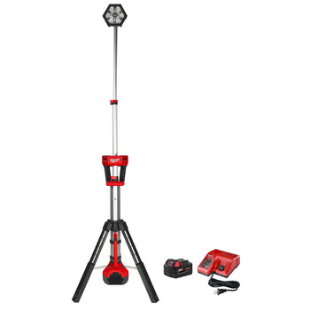 Milwaukee 2130-20P M18 18V 5.0 Ah Cordless Lithium-Ion TRUEVIEW Rocket LED Tower Stand Light Kit with FREE 18V 5.0 Ah Starter Kit image number 0