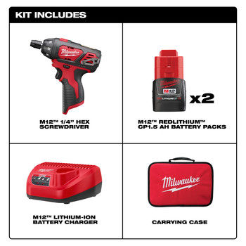 Milwaukee 2401-22 M12 Lithium-Ion Sub-Compact Screwdriver Kit with 2 Batteries image number 8
