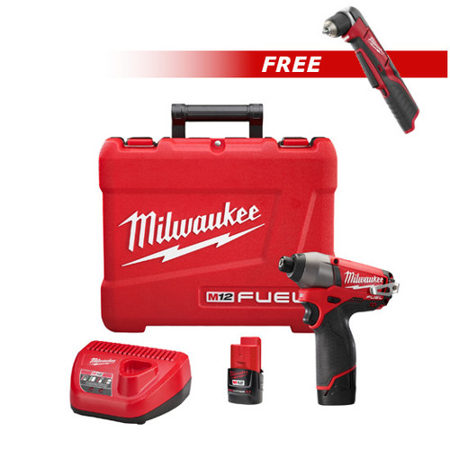 Milwaukee 2453-2415-BNDL M12 FUEL 12V Lithium-Ion 1/4 in. Hex Impact Driver Kit with FREE M12 3/8 in. Right Angle Drill Driver