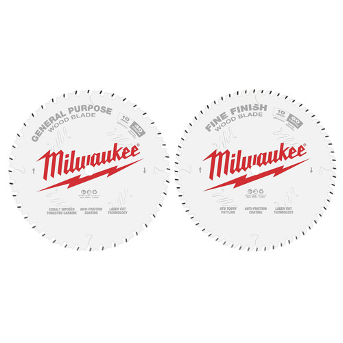 Milwaukee 48-40-1036 10 in. 40T and 60T Two Pack Circular Saw Blades