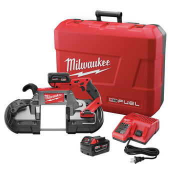 Milwaukee 2729-22 M18 FUEL Cordless Lithium-Ion Deep Cut Band Saw with (2) XC 5 Ah Li-Ion Batteries