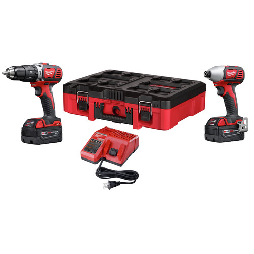 Milwaukee 2697-22PO M18 Compact Lithium-Ion 1/2 in. Cordless Hammer Drill/1/4 in. Cordless Hex Impact Driver Combo Kit (3 Ah) with PACKOUT Tool Box image number 0