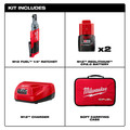 Milwaukee 2556-22 M12 FUEL 1/4 in. Ratchet 2 Battery Kit image number 6