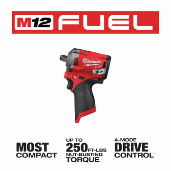 Milwaukee 2555-20 M12 FUEL Stubby 1/2 in. Impact Wrench with Friction Ring (Tool Only) image number 6